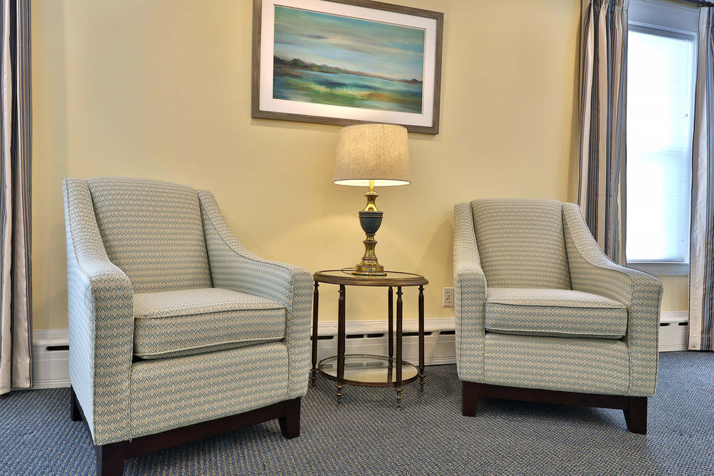 Funeral home parlor seating.