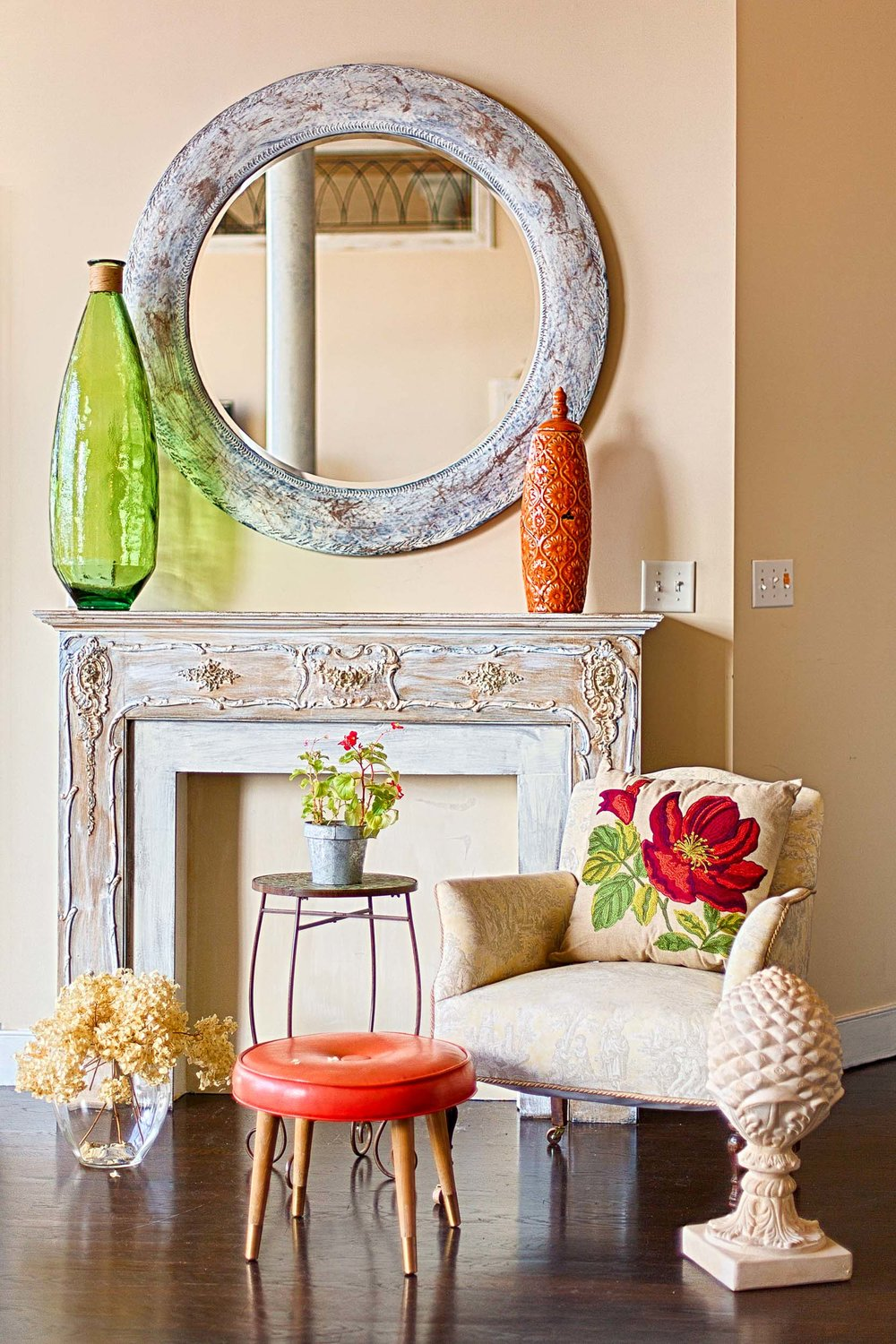 Traditional design elements bring warmth to the space.