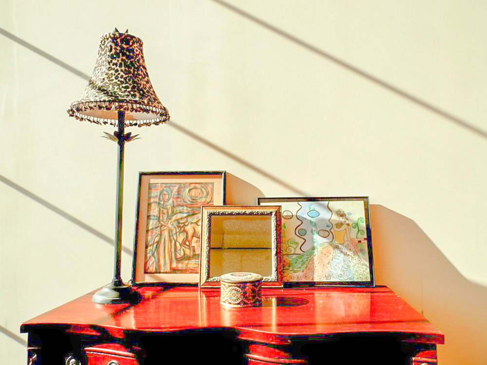 Client provided accessories bring an eclectic feel loft.