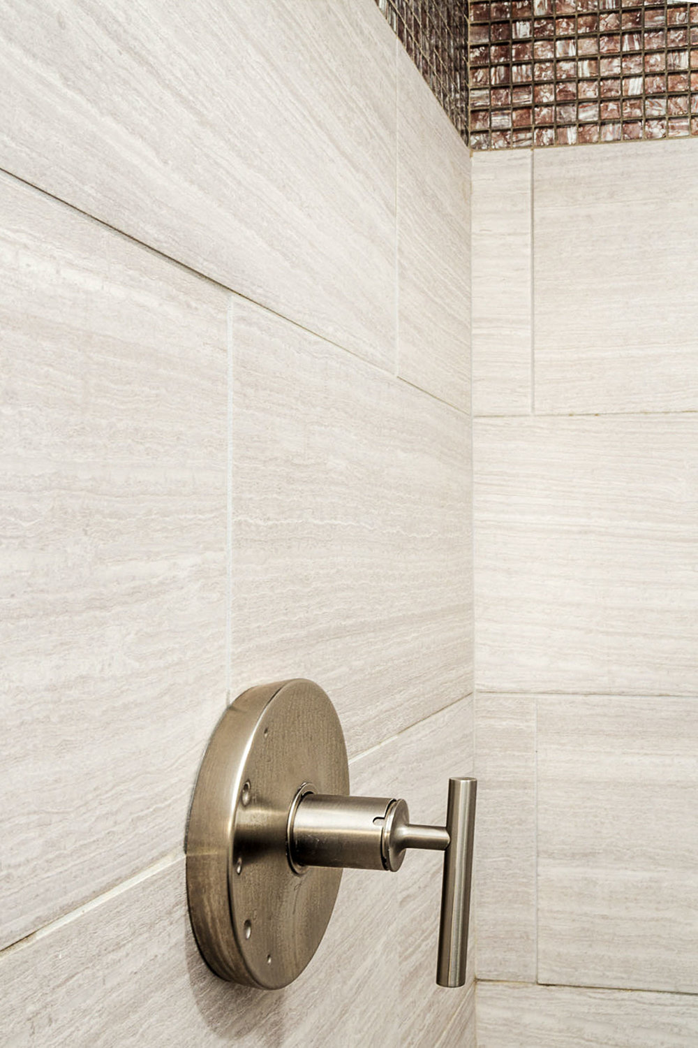 The plumbing fixtures are Kohler Vibrant Brushed Nickel with straight handle.
