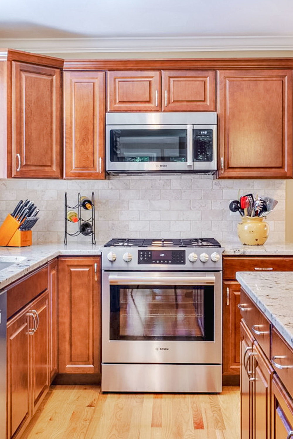The cabinets are maple with a dark cherry finish.