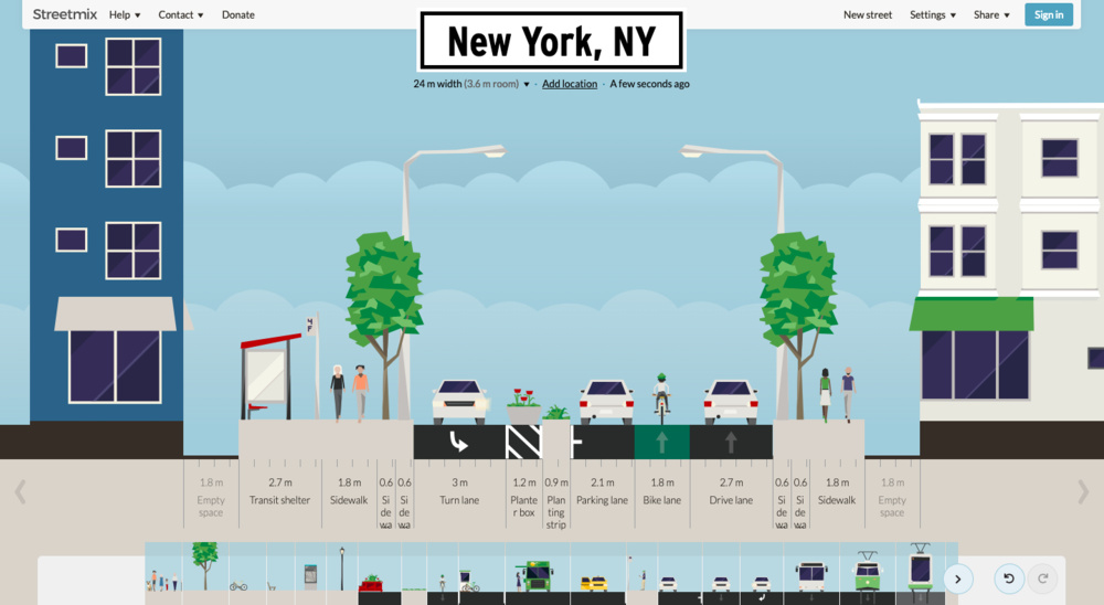 Streetmix (Urban Design tool) - Streetmix (streetmix.net)> Urban Designing tool for creating streets used by industry professionals with 600k streets downloadedStreetmix started as a 2013 Code for America project and has been continued and improved by its founder, Lou, for the past 5 years. The origination of the idea was that industry tools like Autocad and Adobe Illustrator were too expensive for smaller architecture firms to purchase.