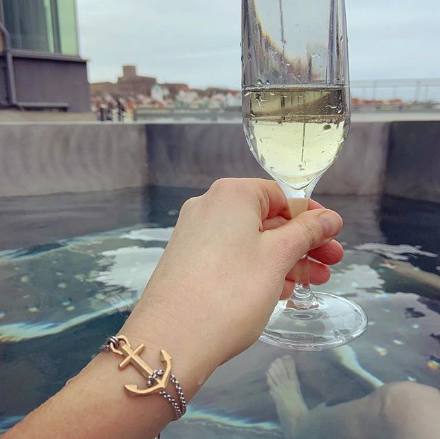 Cheers from Marstrands Havshotell (Ocean Hotel). Enjoying the spa, food, wine and view of the old fort on Marstrand island.