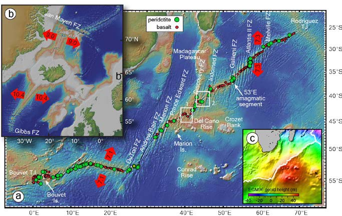 A. South West Indian Ridge with basalt (red) and peridotite (green) sample locations modified from Zhou & Dick (Zhou & Dick, 2013. b. Icelandic Rise plotted at the same scale for reference. C. Southern Oceans Geoid high (courtesy of M. Behn. Right hand white box (2) shows the location of the focus site on the Marion Platform.