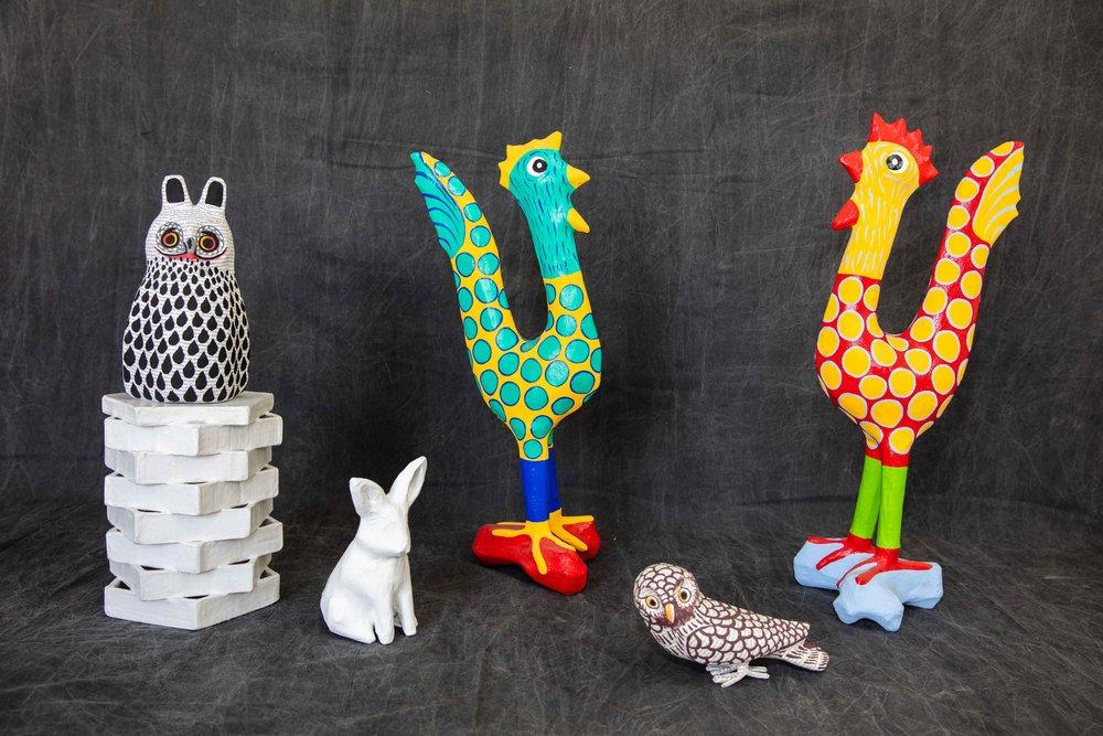 Paper Mache Sculptures - Owls, Rooster, Rabbits…