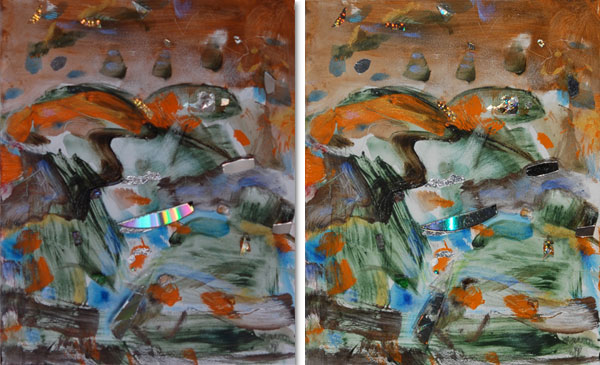 Southwest Dawn, 10″ x 8″, (two views) inteference paint mixed media on cradled