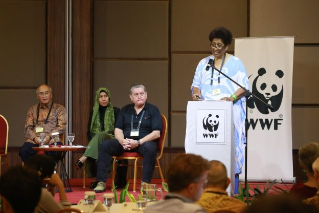 Kesaia Tabunakawai, head of the WWF Pacific Program Office speaks on conservation and community development work in Fiji and the South Pacific region