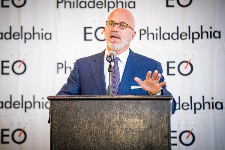 Michael speaking at Entrepreneurs' Organization's (EO) member-recruiting event; Philadelphia, PA (September 2017)