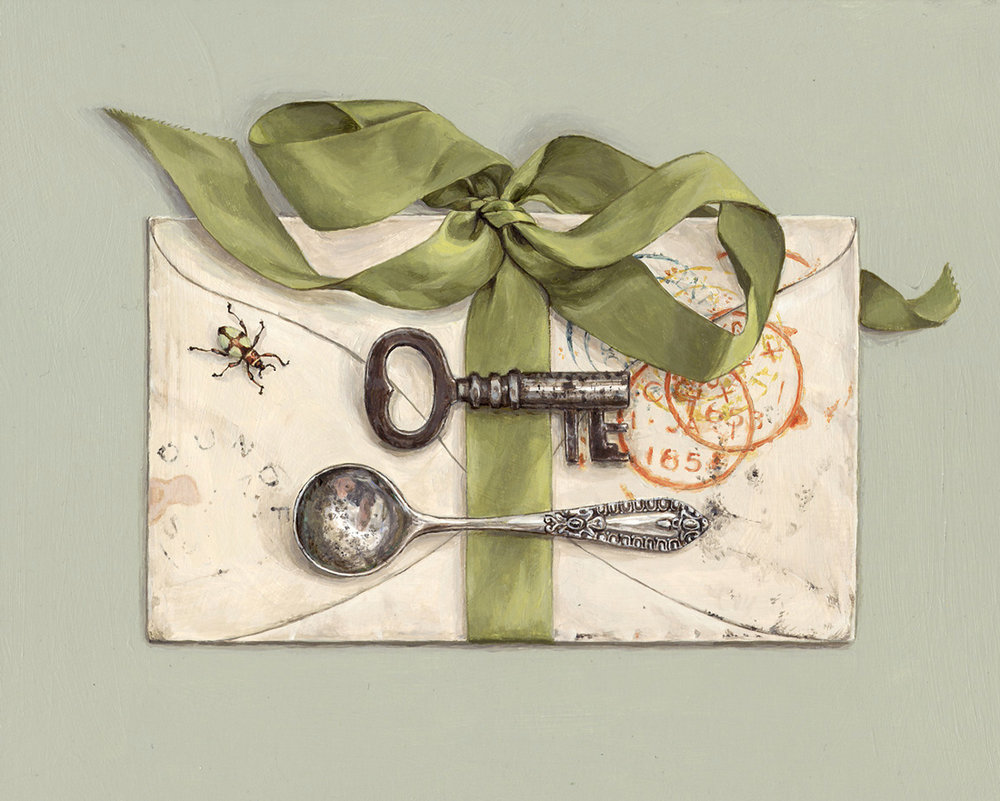 letter with beetle and green ribbon