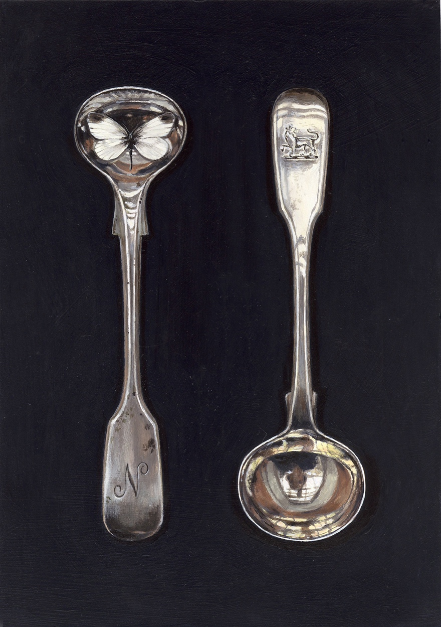 salt spoons with white butterfly