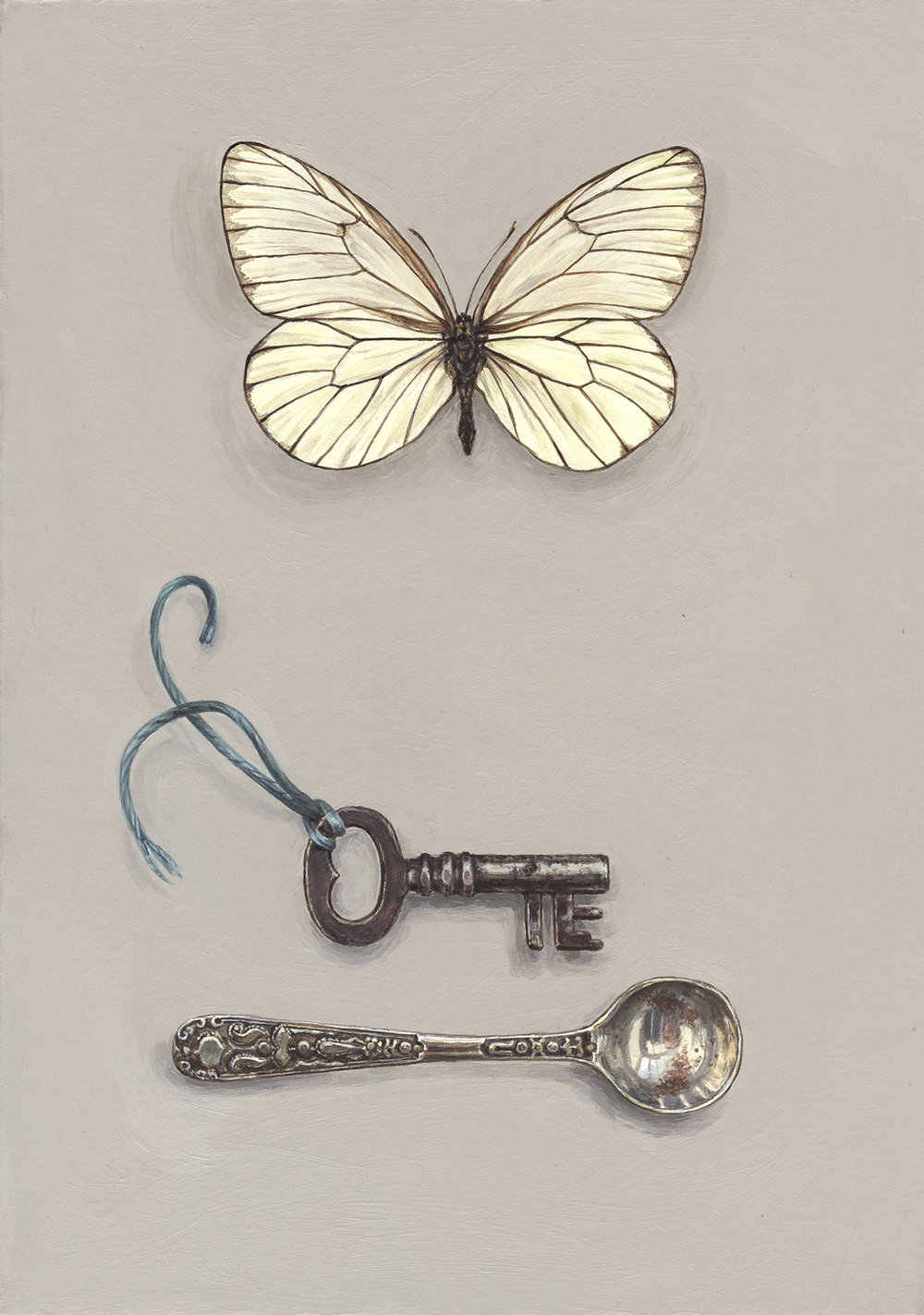 white butterfly with key and spoon