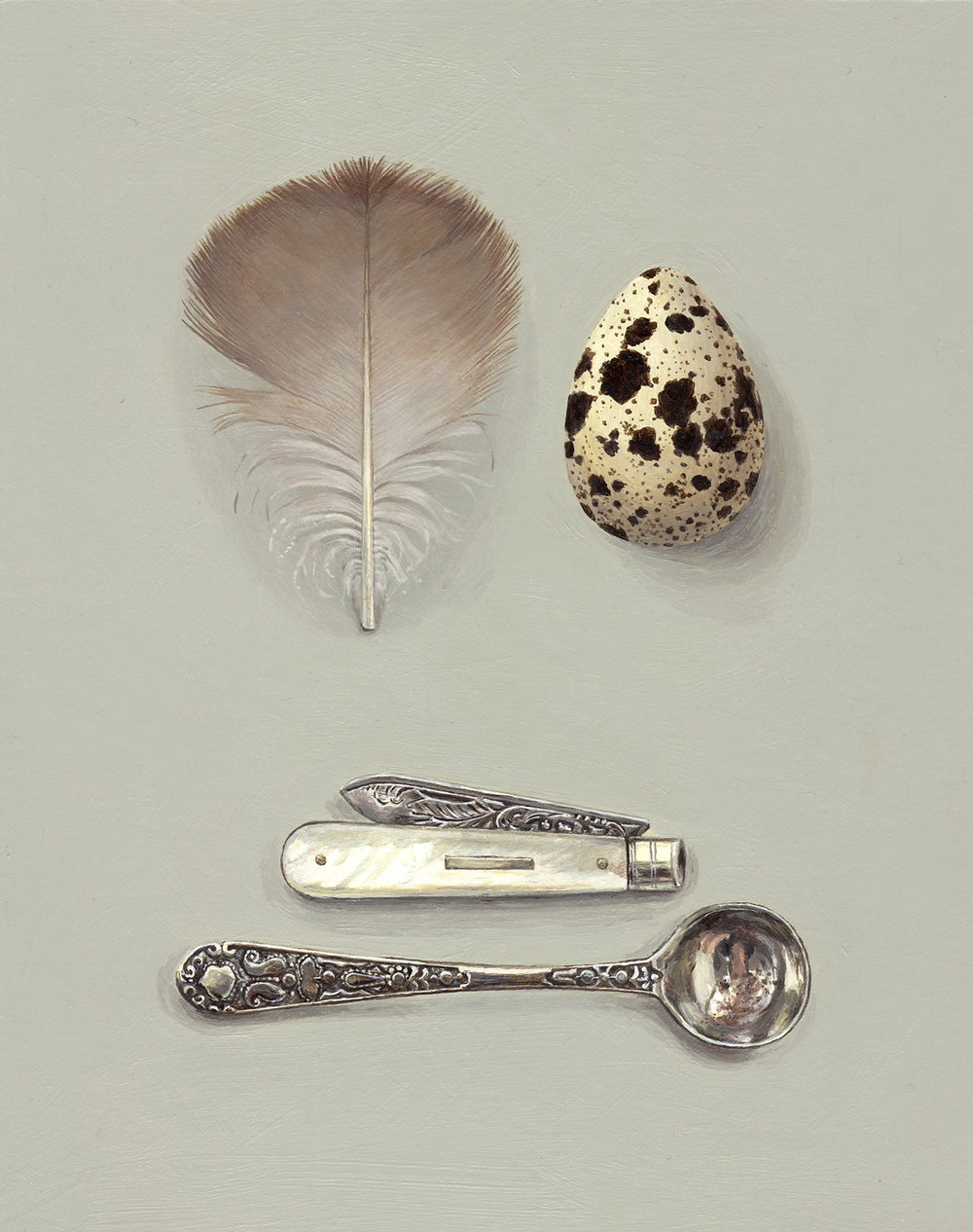 feather with knife and spoon