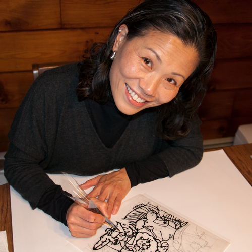 Mison Kim - Illustrating an acetate for one of her children's books