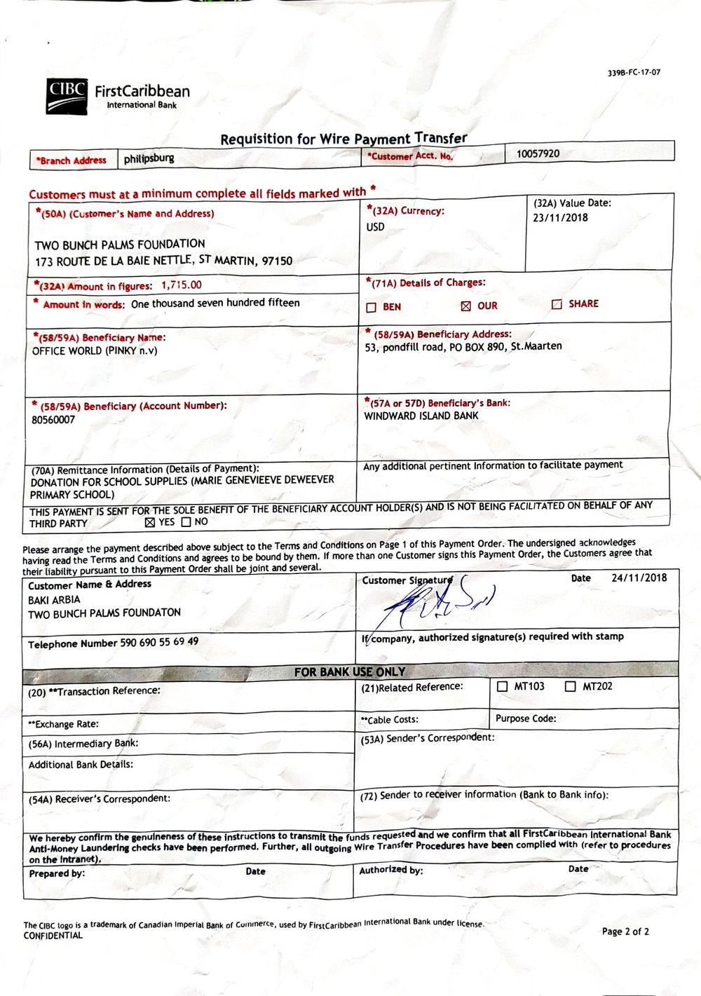 Payement To Office World for Marie Geneviève deweever school-1.jpg
