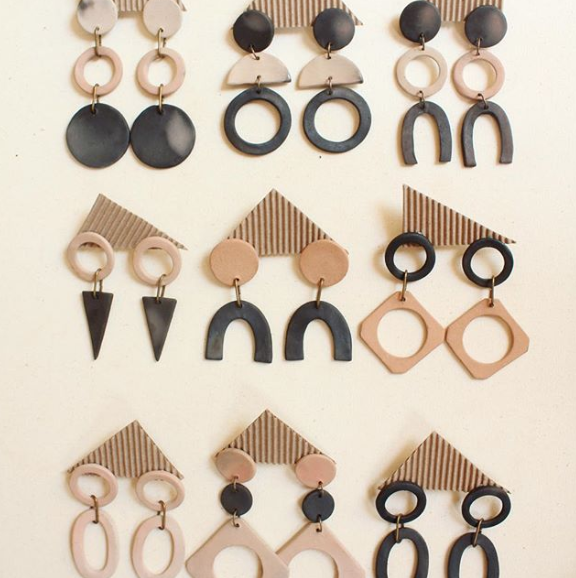 Clay Earrings // Sustainable Fashion // Ceramic // Drop Earrings // Geometric Earrings