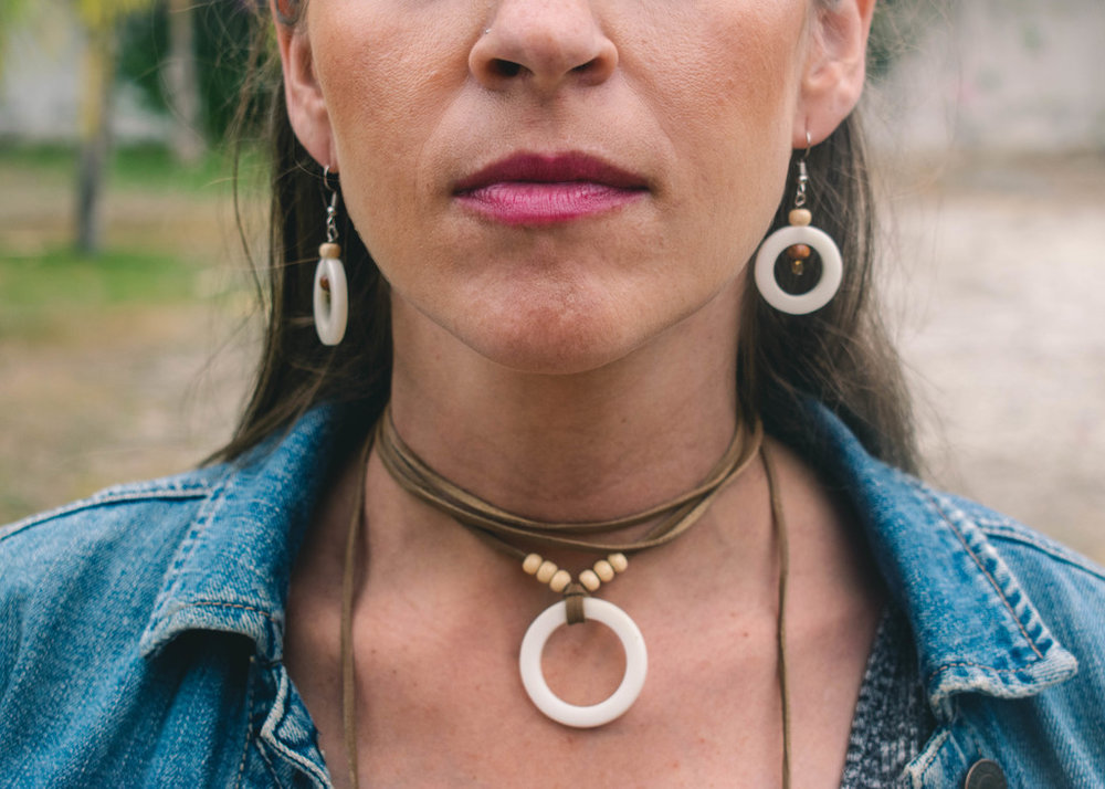 Natural // Leather Wrap Necklace // Tagua Earrings