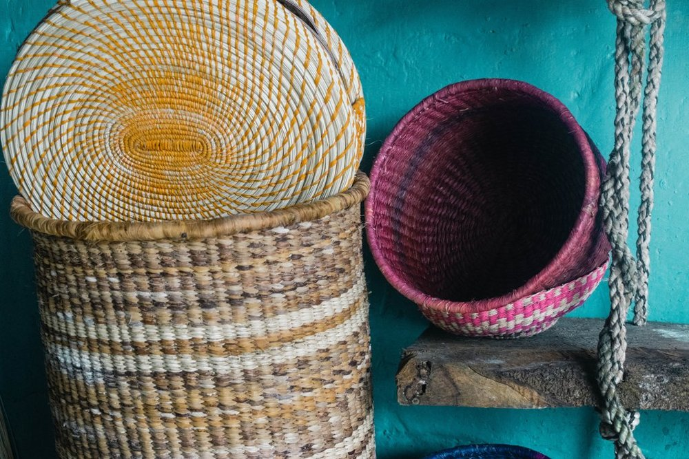 Colorful Handwoven Baskets // Toquilla Straw