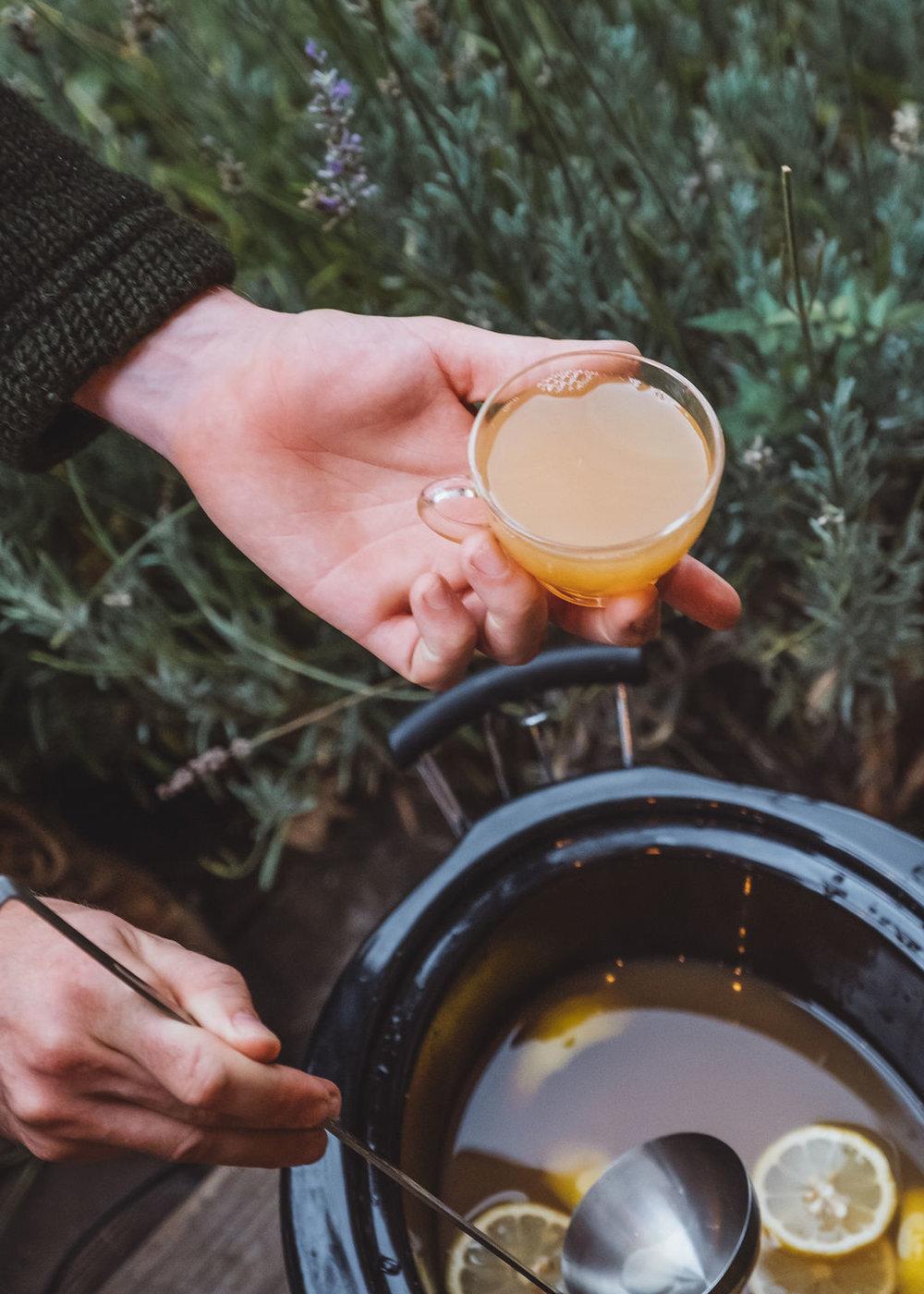 Fresh apple cider + spirit + spices (can't wait!)