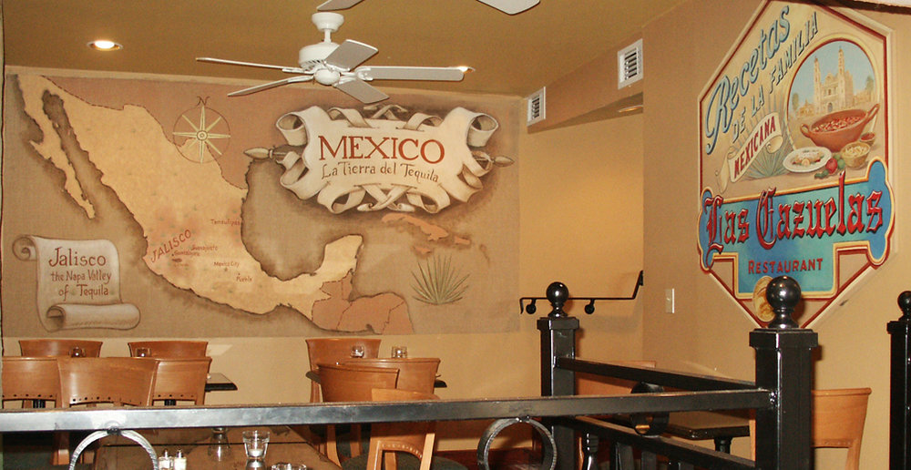 hand painted wall mural and sign Las Cazuelas Restaurant Philadelphia