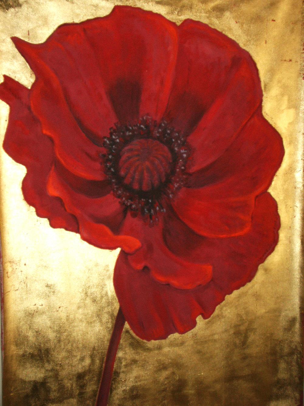 "Red Poppy on gold metallic leaf 36"" x 60"""