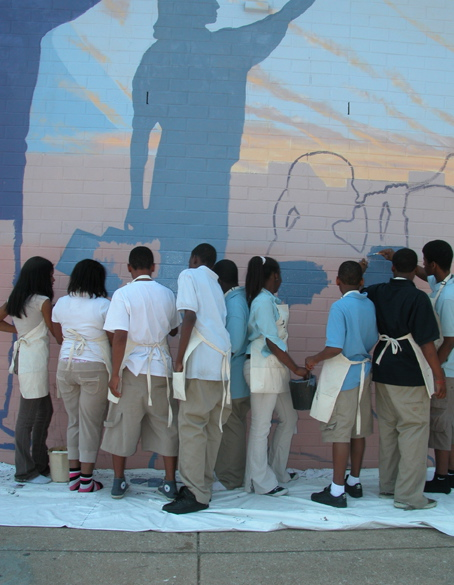 Students painting samuel Daroff Public School, Philadelphia