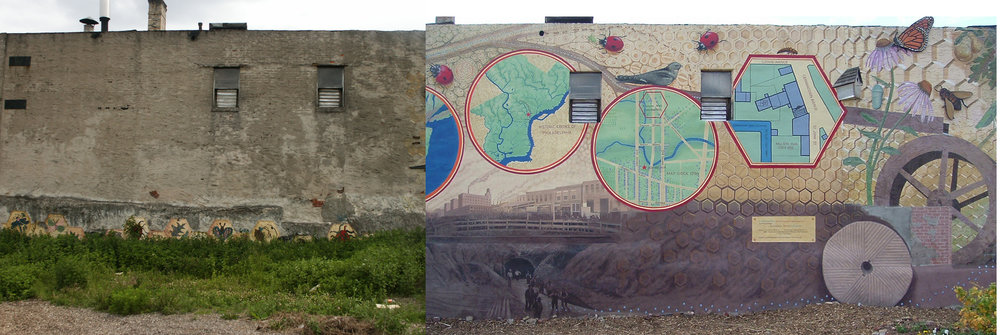 """BEFORE & AFTER: """"Cohocksink"""" mural done with the Mural Arts Program City of Philadelphia 3rd Street above Poplar at Liberty Lands Park"""