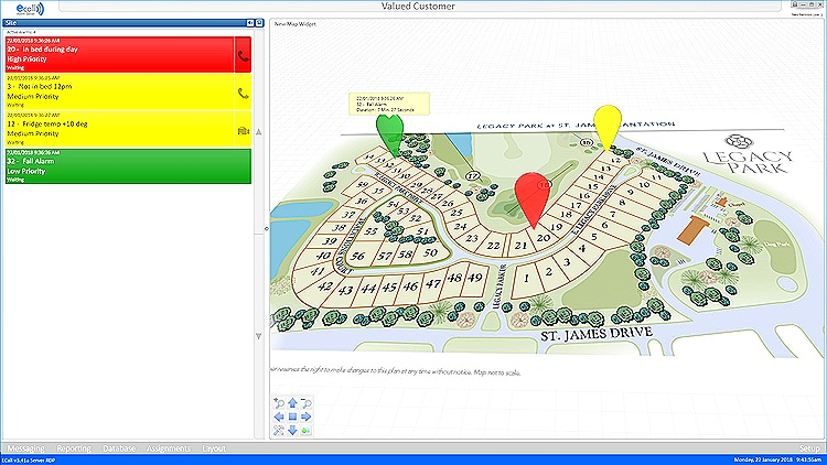 ECall Nursecall interface for MimoCare. Potential fall in villa 20.  Click to expand