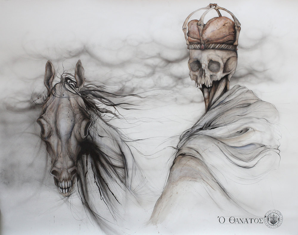 """thanatos (death)""    INK AND CHARCOAL ON PAPER  (SOLD)"