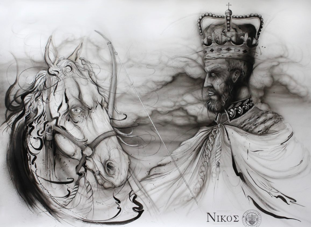 """nikos (conquest)""    INK AND CHARCOAL ON PAPER  (SOLD)"