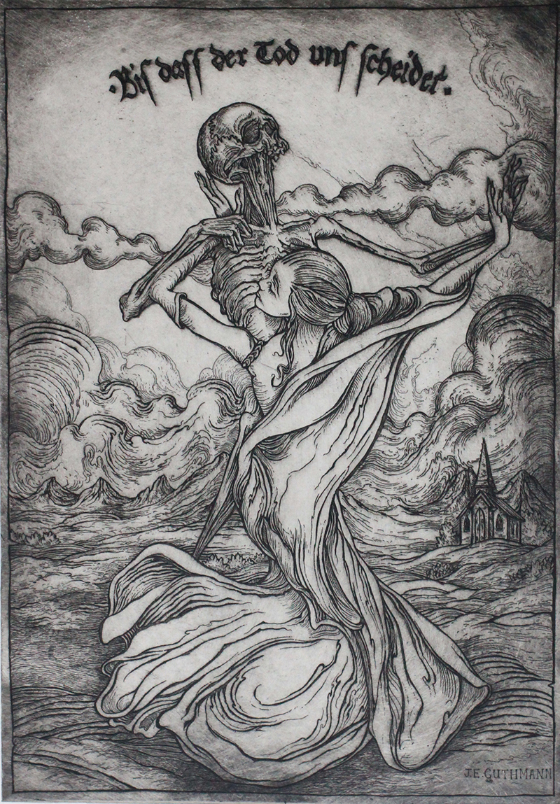"""biss dass der tod uns scheidet (til death do us part)""   etching on hahnemuhle  available in online shop"