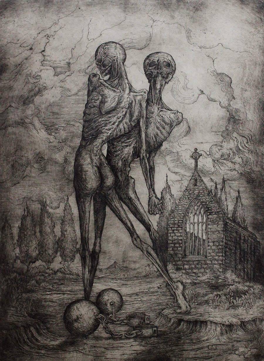 """totentanz III""   etching on hahnemuhle  available in online shop"