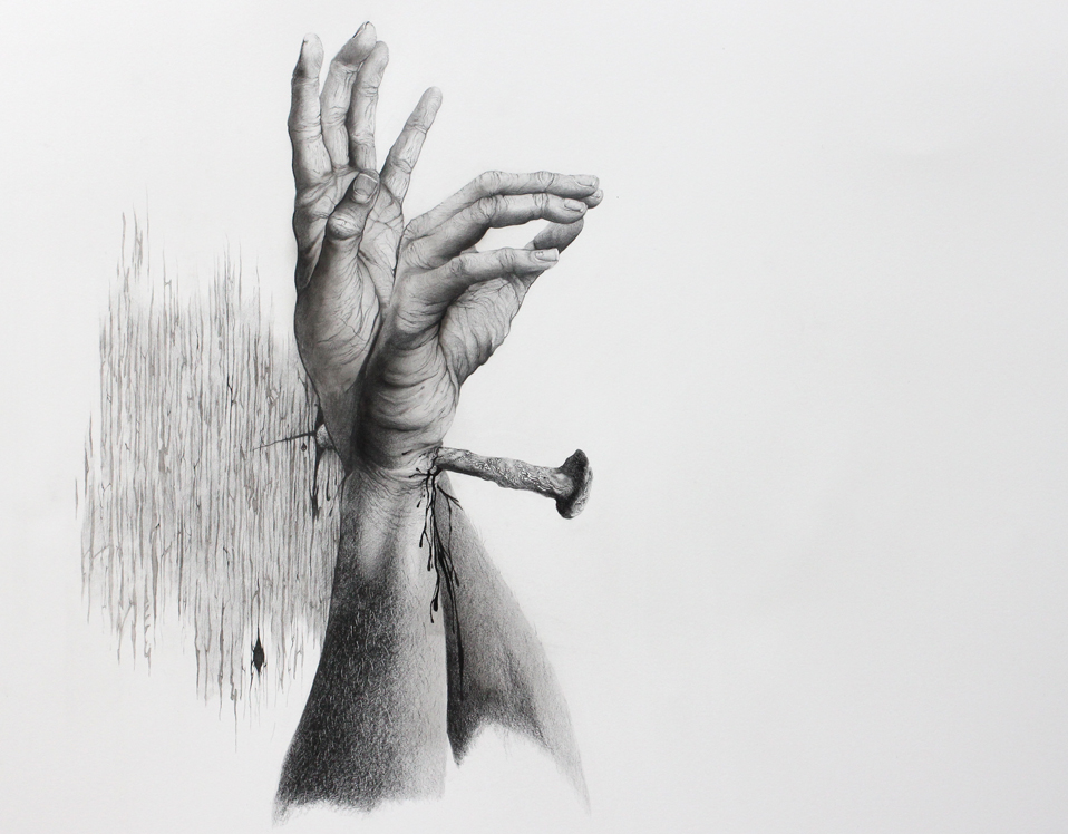 """crucifixion study"" (hands of christ in portrait)   graphite on paper  enquiries through contact page"