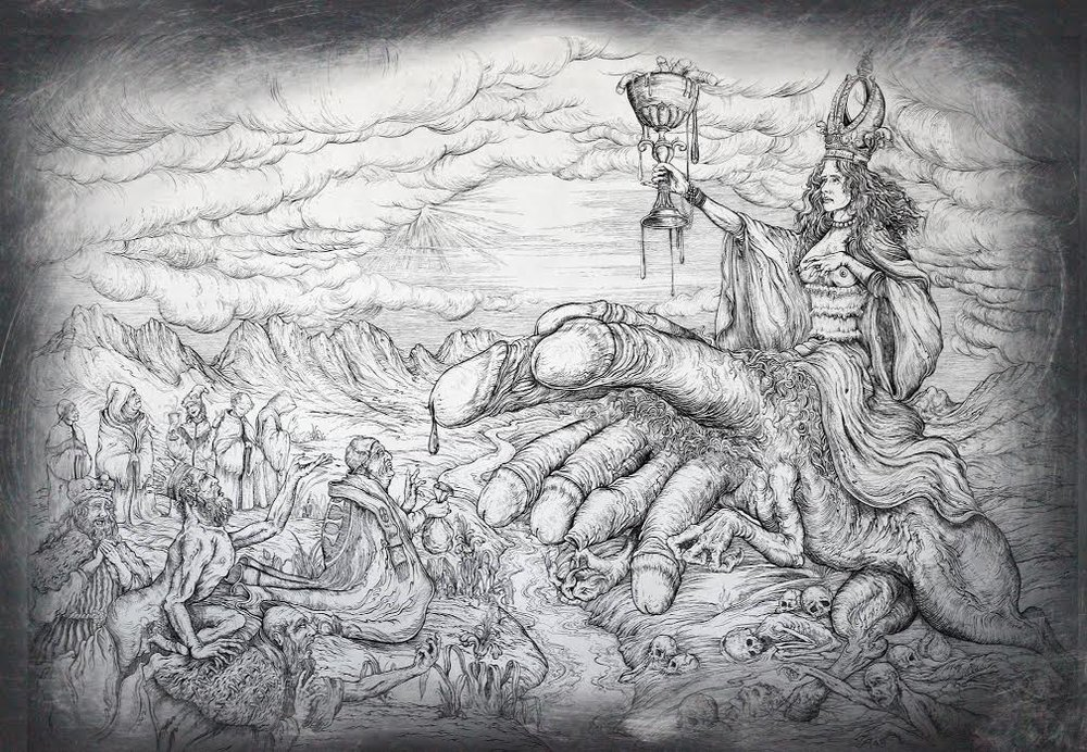 """the whore of babylon""   etching on hahnemuhle 66 x 90cm  purchase enquiries through contact page"