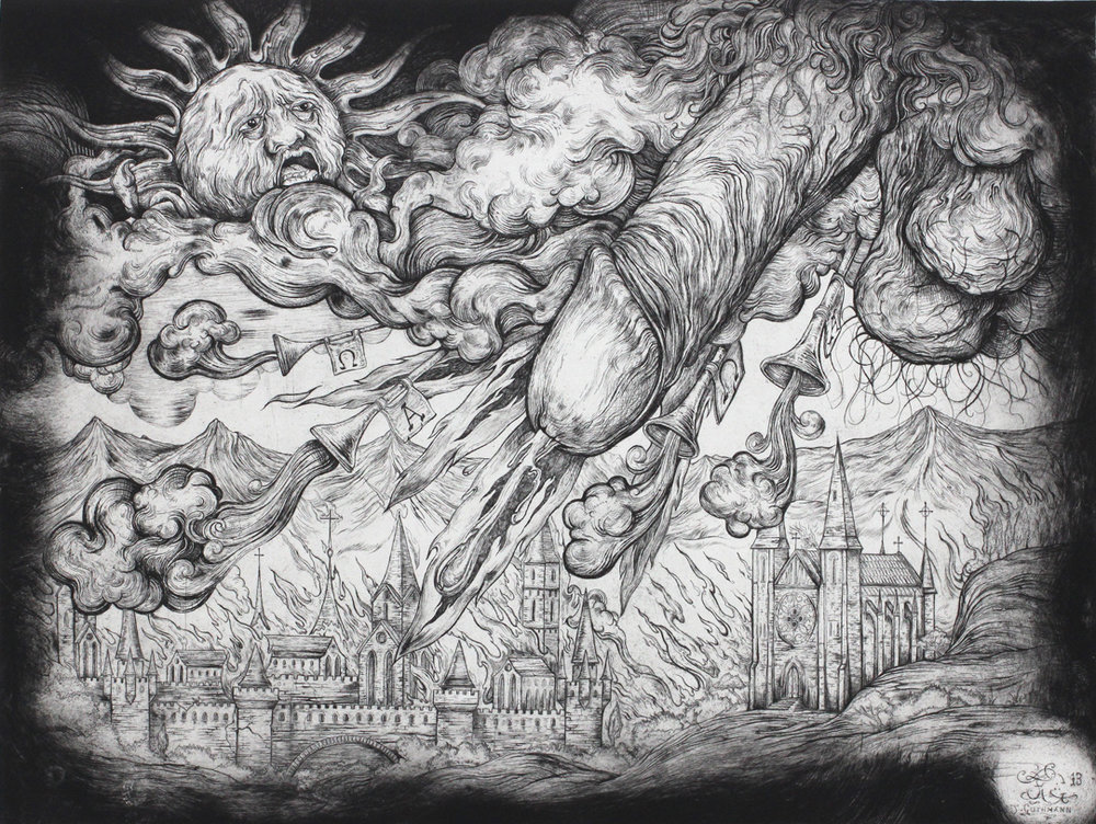 """The acockalypse""   etching on hahnemuhle 56 X 76cm  purchase enquiries through contact page"