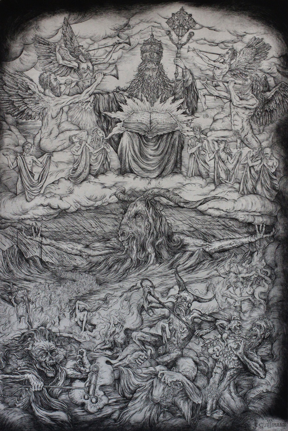 """the last judgment""   etching on hahnemuhle 66 X 100cm  purchase enquiries through contact page"