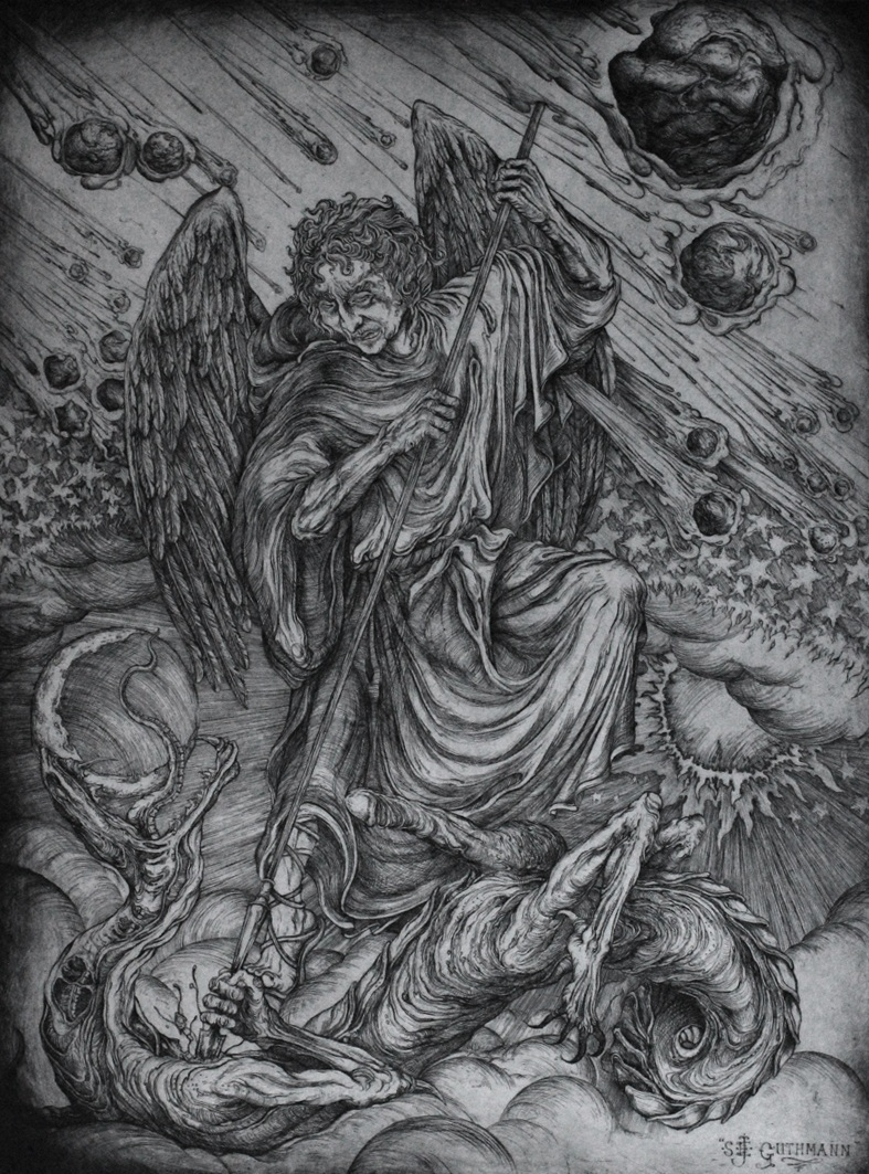 """Michael slaying the dragon""   etching on hahnemuhle 56 X 76cm  purchase enquiries through contact page"