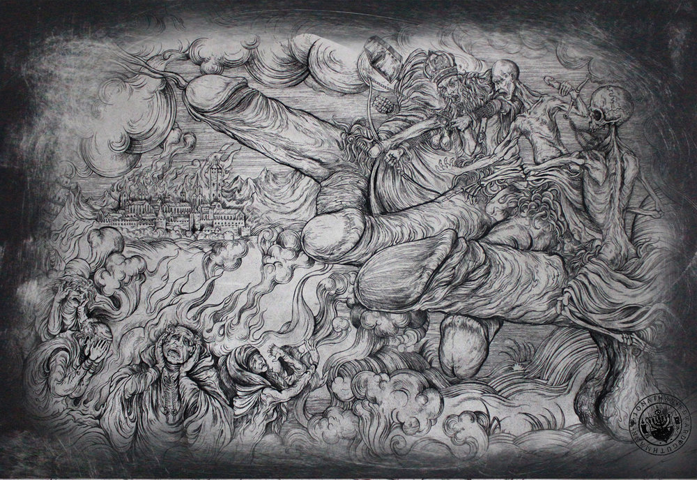"""the four horsemen of the acockalypse""   etching on hahnemuhle 56 x 76cm  purchase enquiries through contact page"
