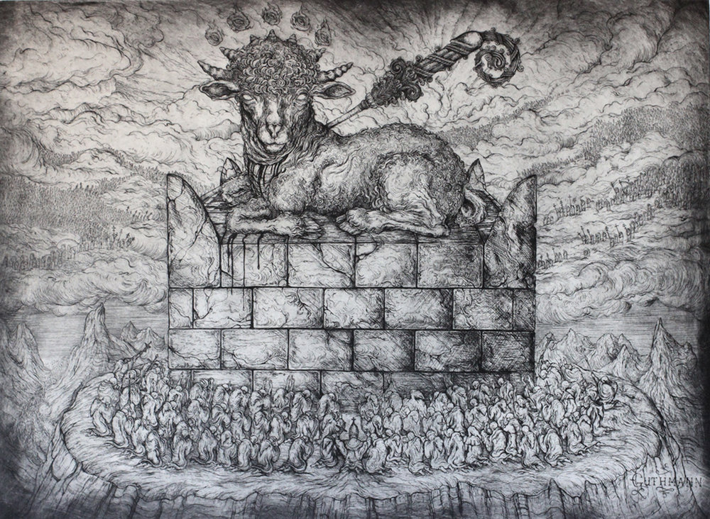 """the slaughtered lamb""   etching on hahnemuhle 66 x 100cm  purchase enquiries through contact page"