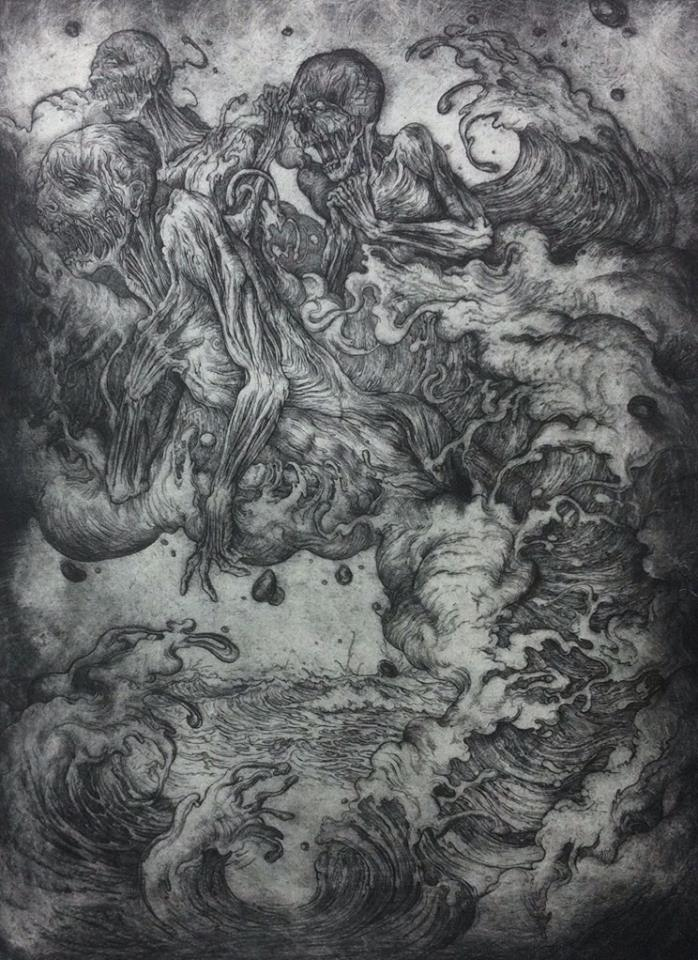"""THE SEA GIVING UP THE DEAD""   ETCHING ON HAHNEMUHLE 56 X 76CM  purchase enquiries through contact page"