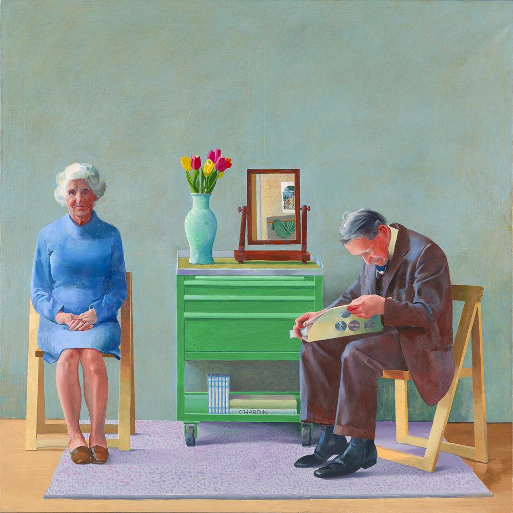 """데이비드 호크니, """"나의 부모님"""" 1977  캔버스에 유채, 182.9 x 182.9 cm  © David Hockney, Collection Tate, U.K. ©Tate, London 2019"""