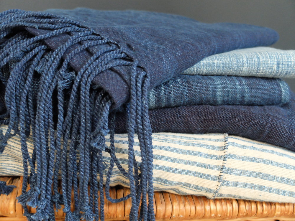 INDIGO DYED KHADI COTTON BLANKETS, SHAWLS & WRAPS AT  WORLDSENDNY.COM