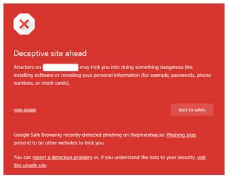 Figure 3: Google Chrome browser blocking phishing site