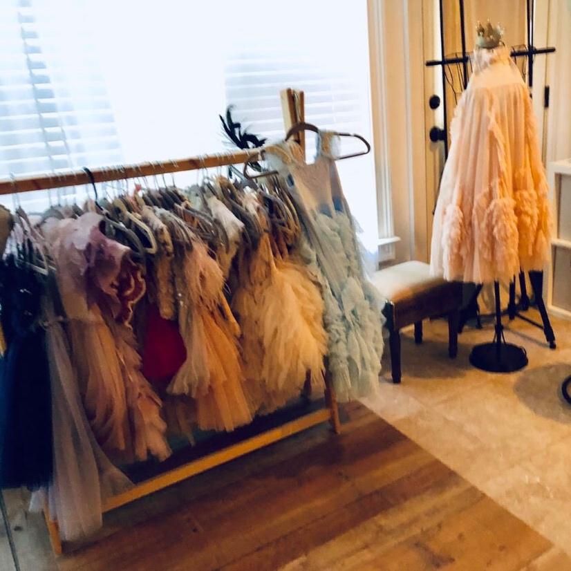 Studio wardrobe ready for glitter minis!