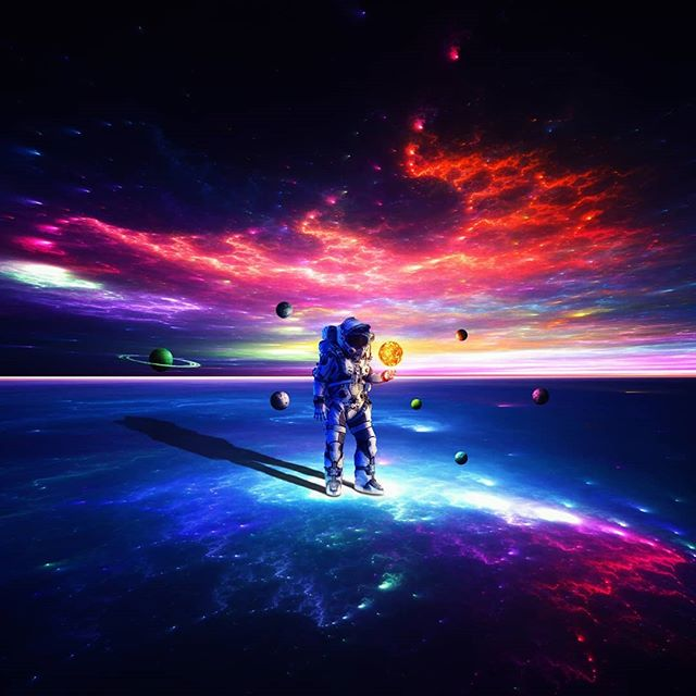 """Hope everyone has a great new year's. Stay safe!  Photo art """"Beyond the Long Dark""""  Prints and full size image also available on schluterart.com  #art #photoart #digitalart #digitalartist #space#nightsky #stars #spaceart #fantasy #scifiart #scifi #astronaut #milkyway #wonder #universe #cosmo #planets #instagood #instaart #photomanipulation #photography #freelance #prints #artprints #printsforsale #metalprints #canvasprints #photoshop #wacom"""