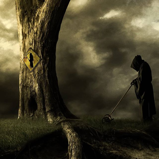 Photo art  Been out of town for a couple of weeks and haven't had time to work on anything new. Thought I'd post this old gem haha.  #art #photoart #digitalart #digitalartist #death #yardwork #trees #dark #fantasy #mowing #funny #instagood #instaart #humorart #humor #photomanipulation #photography #freelance #prints #artprints #printsforsale #limitededition