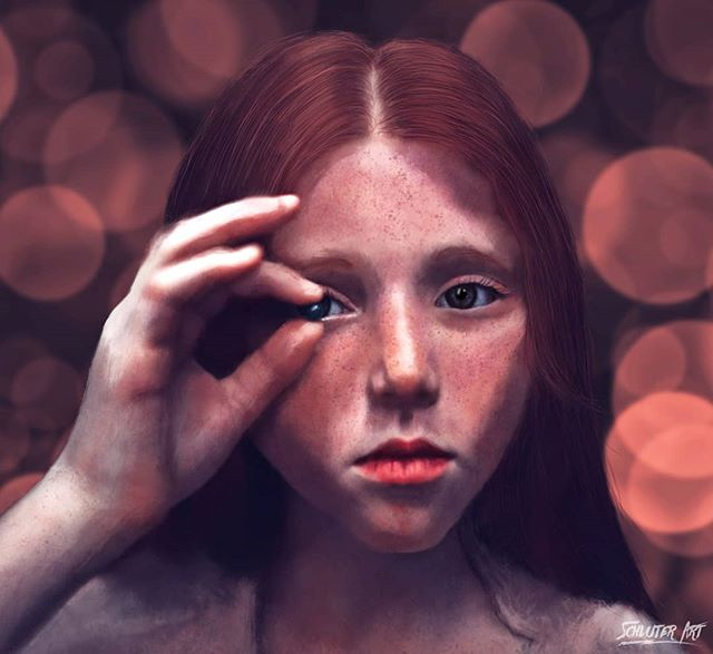 "Digital Painting ""Eye Spy""  Painted on ipad pro using the procreate app.  Prints available soon on www.schluterart.com  #art #digitalpainting #digitalpaint #digitalart #digitalartist #girl #hair#redhair #texturepaint #freckles #eyespy #potrait #instaart #prints #artprints #printsforsale #canvasart #metalart #framedart #photoart #texture #ipadpro #procreate"
