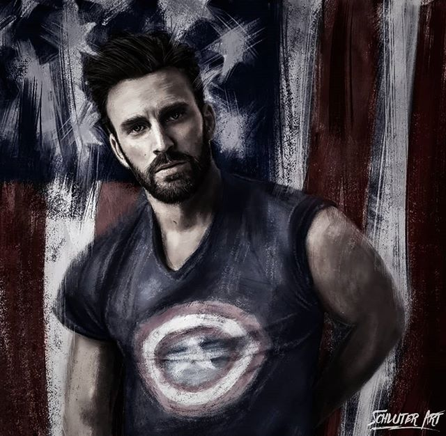 "Digital Painting ""Captain America - Chris Evans""  I don't really do much stuff with superheroes so I decided to paint captain America in his lazy off day clothes lol.  Who is your favorite superhero?  Painted on wacom cintiq Prints available on www.schluterart.com  #art #digitalpainting #digitalpaint #digitalart #digitalartist #chrisevans #captainmarvel #captainamerica #beard #texturepaint #america #wacom #potrait #instaart #prints #artprints #printsforsale #canvasart #metalart #framedart #photoart #texture"