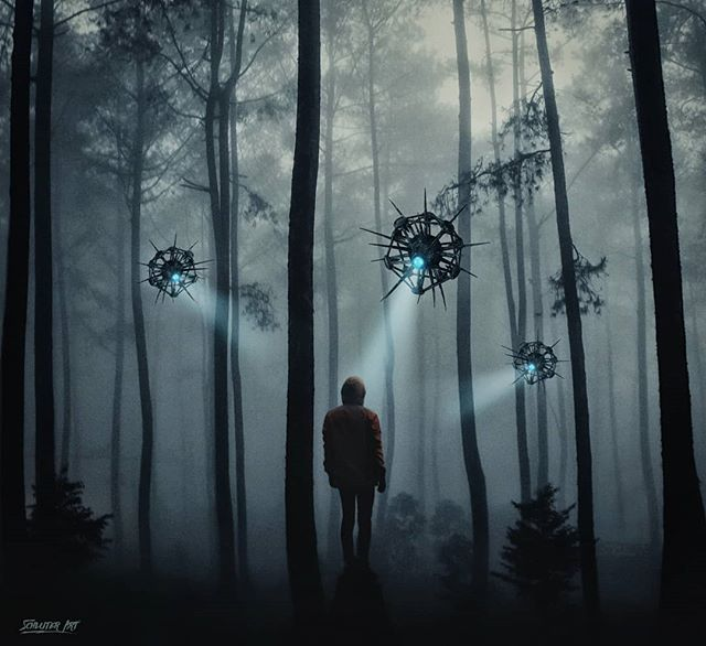 """Photo art """"The Scanners""""  Been busy lately working on a new book cover, but wanted to take some time and make a new piece.  Prints and full size image also available on schluterart.com  #art #photoart #digitalart #digitalartist #alien #forest #trees #dark #fantasy #scifi #girl #instagood #instaart #photomanipulation #photography #freelance #prints #artprints #printsforsale #limitededition"""
