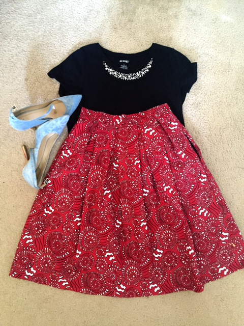 Top: JCPenney  Skirt: DIY Shoes: JustFab.com