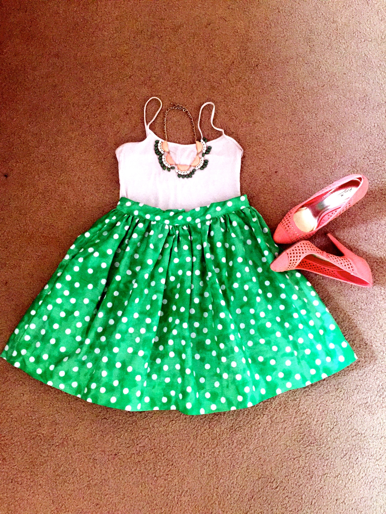Polka Dot Skirt- DIY;  Shoes - Anne Michelle; Necklace - Charlotte Russe; Tank top - Forever 21